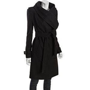 BCBGMAXAZRIA black wool-blend 'Carlin' double-brea